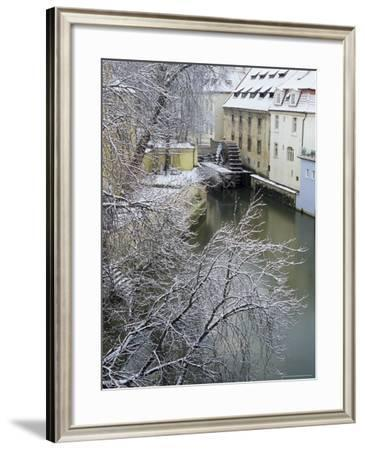 Snow-Covered Certovka Canal and Water Wheel at Kampa Island, Czech Republic, Europe-Richard Nebesky-Framed Photographic Print