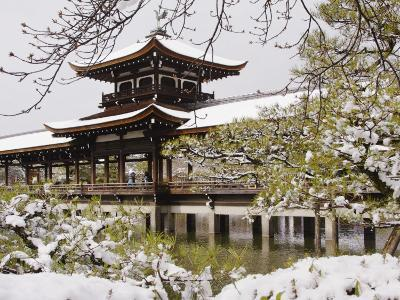 Snow Covered Chinese Style Bridge over Pond in Garden of Heian Shrine-Frank Carter-Photographic Print
