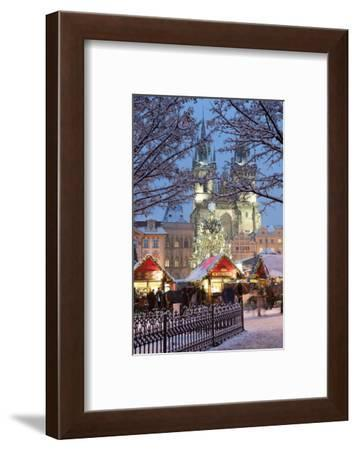 Snow-Covered Christmas Market and Tyn Church, Old Town Square, Prague, Czech Republic, Europe-Richard Nebesky-Framed Photographic Print