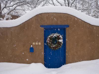 Snow Covered Christmas Wreath Adorns a Blue Door in Santa Fe-Ralph Lee Hopkins-Photographic Print