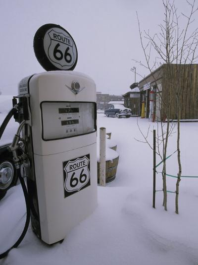 Snow-Covered Gas Pump on Historic Route 66-Rich Reid-Photographic Print