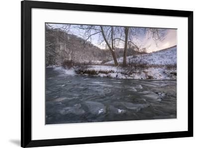 Snow Covered Landscape And Icy River Blue Ridge Mountains North Carolina United States Of Americ Photographic Print By Jon Reaves Art Com