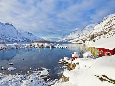 Snow Covered Mountains, Boathouse and Moorings in Norwegian Fjord Village of Ersfjord, Kvaloya Isla-Neale Clark-Photographic Print