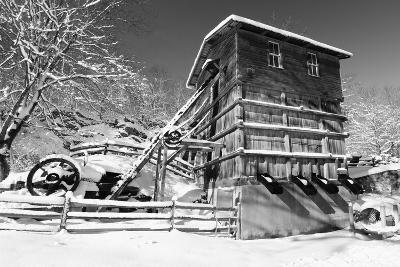 Snow Covered Old Quarry Stamp Mill-George Oze-Photographic Print