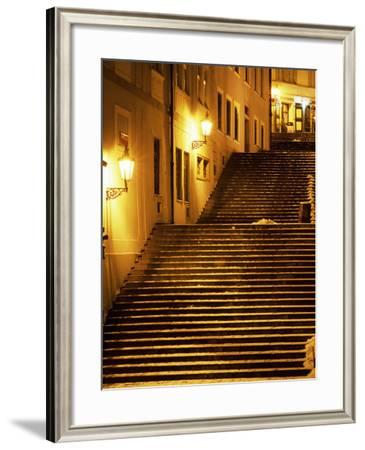 Snow Covered Radnicke Steps in Mala Strana Suburb at Night, Prague, Czech Republic, Europe-Richard Nebesky-Framed Photographic Print