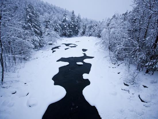 Snow Covered Riverbanks on the West Branch of the Ausable River-Michael Melford-Photographic Print