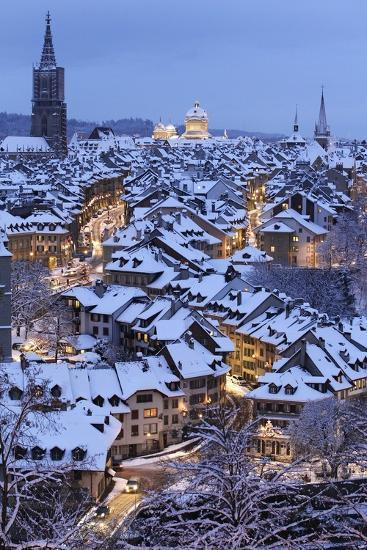 Snow-Covered Roofs of the Old Town of Bern, Switzerland-Peter Klaunzer-Photographic Print