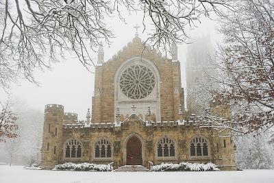 Snow-covered Trees and All Saint's Chapel in Heavy Fog-Stephen Alvarez-Photographic Print