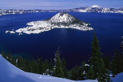 Snow Covered Wizard Island on Crater Lake-Paul Souders-Photographic Print