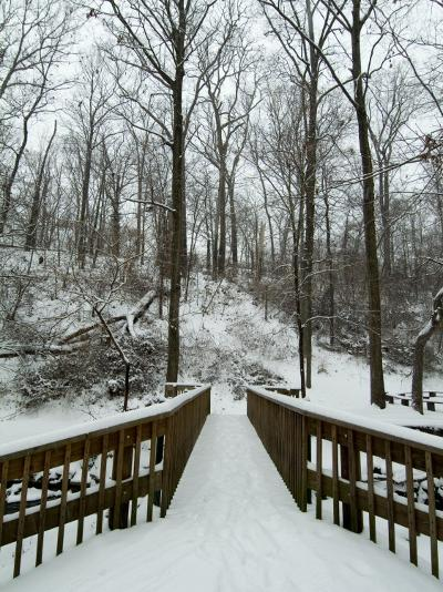 Snow Covered Wooden Bridge Over a Park Stream-Todd Gipstein-Photographic Print