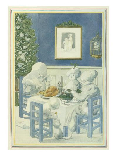Snow Family Christmas Dinner--Giclee Print