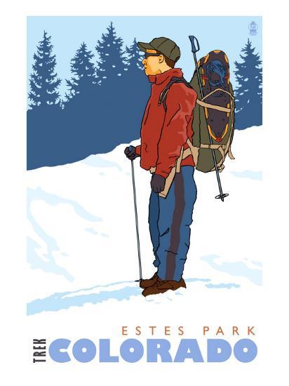 Snow Hiker, Estes Park, Colorado-Lantern Press-Art Print