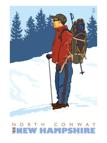 Snow Hiker, North Conway, New Hampshire-Lantern Press-Art Print