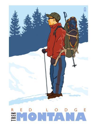 Snow Hiker, Red Lodge, Montana-Lantern Press-Art Print