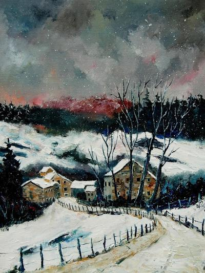 Snow in Sechery Village Ardennes-Pol Ledent-Art Print