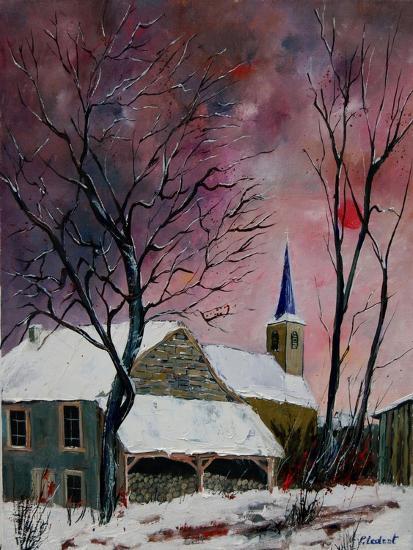 snow in sevry village ardennes-Pol Ledent-Art Print