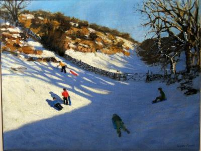 Snow in the Valley, Near Monyash, Derbyshire-Andrew Macara-Giclee Print