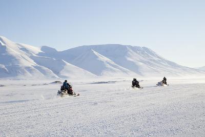 Snow Mobiles, Adventdalen Valley, Longyearbyen-Stephen Studd-Photographic Print