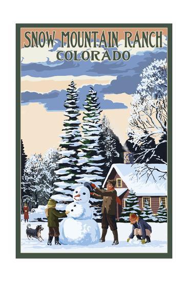Snow Mountain Ranch, Colorado - Snowman Scene-Lantern Press-Art Print