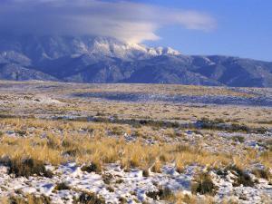 Snow on the Sandia Mountains and High Plains Near Albuquerque, New Mexico