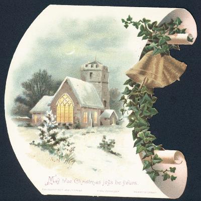 Snow Scene and Church, Christmas Card--Giclee Print