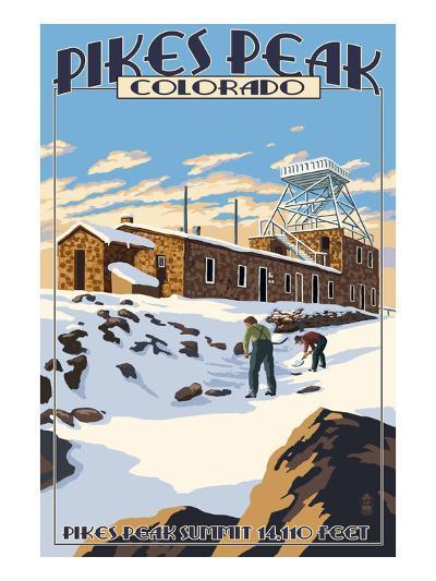 Snow Scene Atop Pikes Peak, Colorado-Lantern Press-Art Print