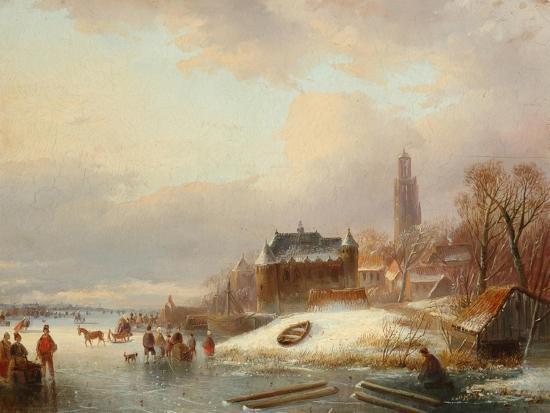 Snow Scene in Holland-Franz Xaver Winterhalter-Giclee Print