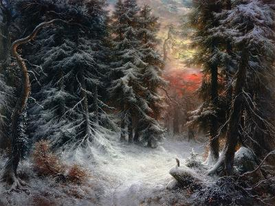 Snow Scene in the Black Forest-Carl Schindler-Giclee Print