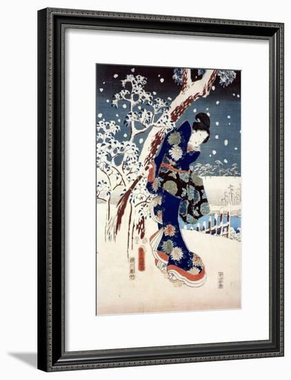Snow Scene in the Garden of a Daimyo, Part of Triptych-Ando Hiroshige-Framed Premium Giclee Print