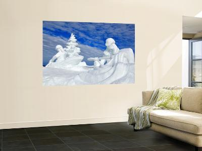 Snow Sculpture 'Kelly's Whitewater Park' at Mccall Winter Carnival.-David Ryan-Wall Mural