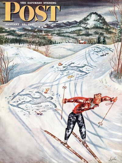 """""""Snow Skiier After the Falls,"""" Saturday Evening Post Cover, January 25, 1947-Constantin Alajalov-Giclee Print"""