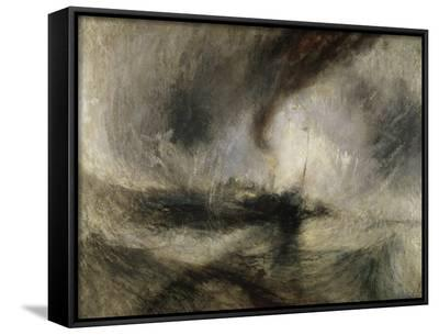 Snow Storm: Steam-Boat Off a Harbour's Mouth-J^ M^ W^ Turner-Framed Canvas Print