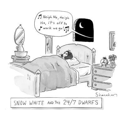'Snow White and the 24/7 Dwarfs - New Yorker Cartoon-Danny Shanahan-Premium Giclee Print
