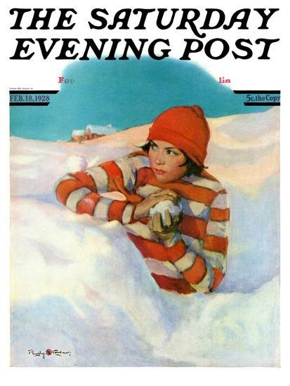 """""""Snowball Fight,"""" Saturday Evening Post Cover, February 18, 1928-Penrhyn Stanlaws-Giclee Print"""