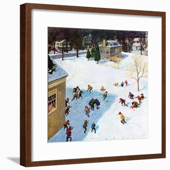 """""""Snowball Recess"""", February 4, 1956-John Clymer-Framed Giclee Print"""