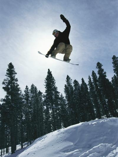 Snowboarder in Flight, Colorado-Mark Thiessen-Photographic Print