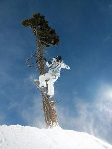 Snowboarder Mid-Air During Jump