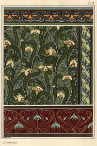 Snowdrop, Galanthus nivalis, as design motif in wallpaper, borders and fabrics.