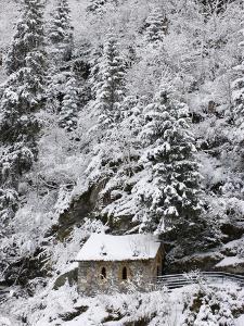 Snowed Covered Notre-Dame De La Gorge Chapel, Les Contamines, Haute-Savoie, France, Europe