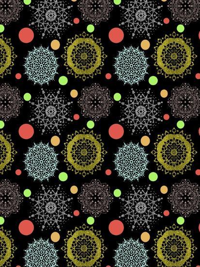 Snowflakes & Polka Dots Black-Cyndi Lou-Giclee Print