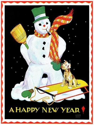 Snowman and Dog - Child Life-Eleanor Mussey Young-Giclee Print