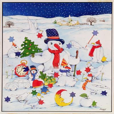Snowman and Friends-Christian Kaempf-Giclee Print