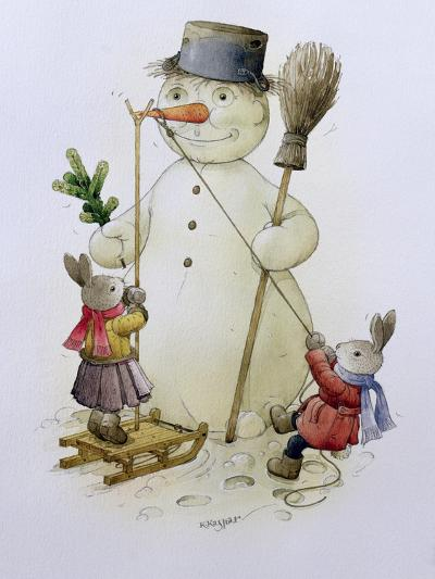 Snowman and Hares, 1999-Kestutis Kasparavicius-Giclee Print