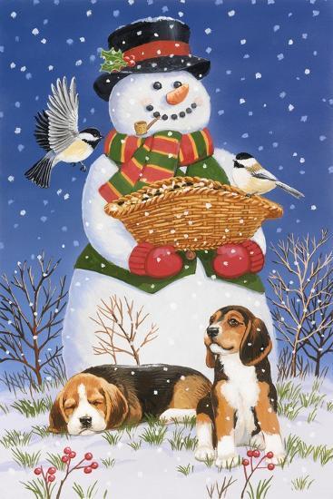 Snowman, Birds and Beagles-William Vanderdasson-Giclee Print