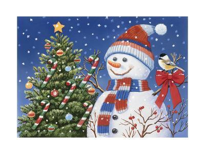 Snowman Decorating Tree-William Vanderdasson-Giclee Print