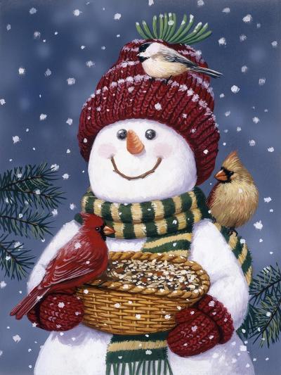 Snowman Feeding Birds-William Vanderdasson-Giclee Print