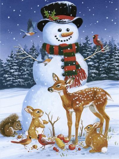 Snowman with Friends-William Vanderdasson-Giclee Print