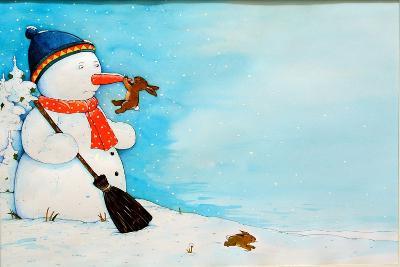 Snowman with Little Rabbit, 2012-Christian Kaempf-Giclee Print