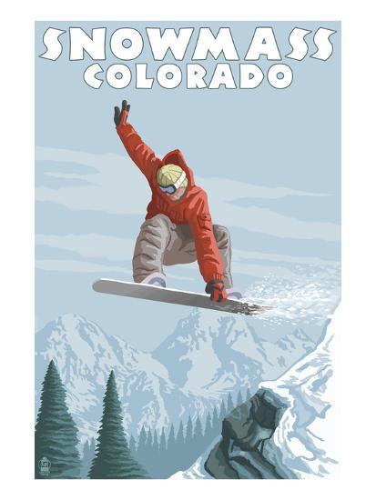 Snowmass, Colorado - Snowboarder Jumping-Lantern Press-Art Print
