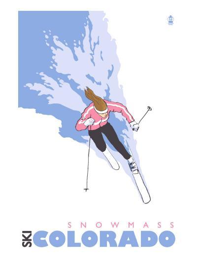 Snowmass, Colorado, Stylized Skier-Lantern Press-Art Print